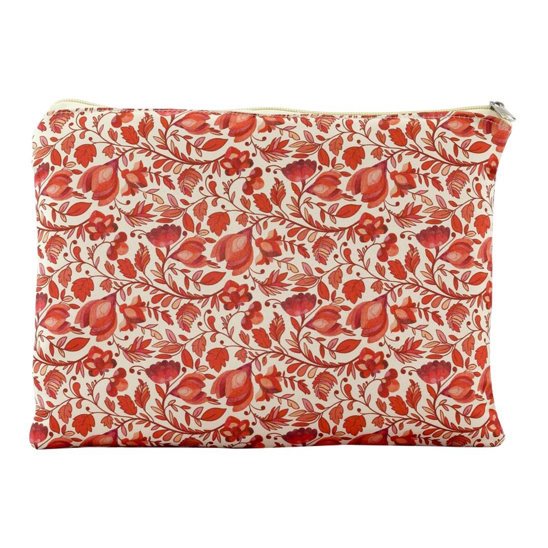 Calico Floral Makeup Pouch in Red Lily