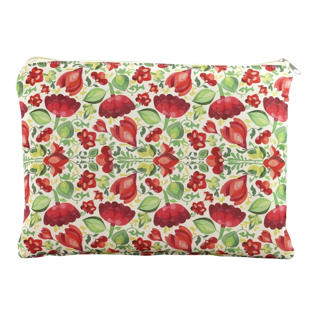 Calico Floral Makeup Pouch in Rose Red