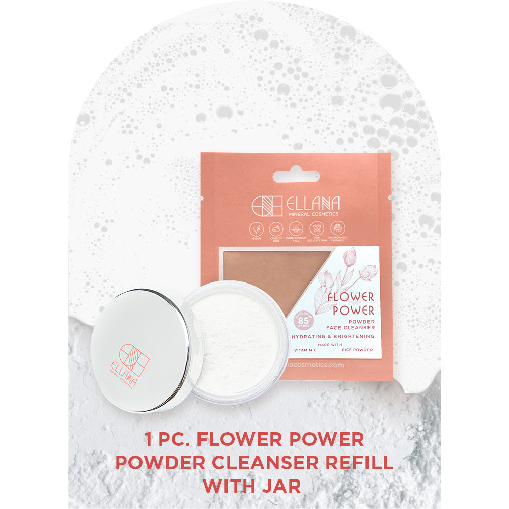 Flower Power Powder Face Cleanser with Jar | Hydrates and Brightens | Step 1/6