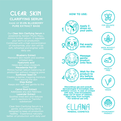 Clear Skin Clarifying Serum with 91.6% Blueberry and Botanical Actives for Oily Skin