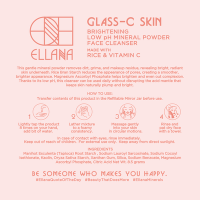 Glass-C Skin Brightening Low pH Mineral Powder Face Cleanser for Textured and Pigmented Skin