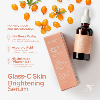 Glass-C Skin Brightening Serum with 74.6% Sea Berry and 15% Vit C for Textured and Pigmented Skin