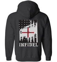 Infidel Zip-up Hoodie with a back print you don't want to miss *Hot Item* - Random Veteran LLC