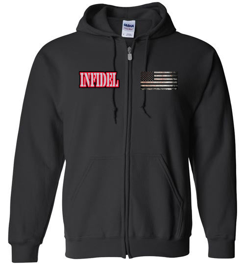 Infidel, graphic, veteran, style, subdued American Flag, zip-up, patriot, Hoodie