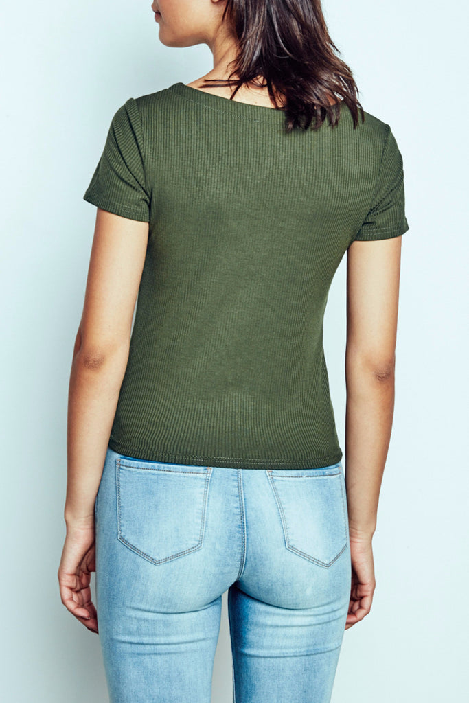 RIBBED KNIT LACE-UP TEE