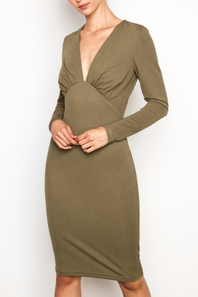 TEXTURED V-NECK MIDI DRESS