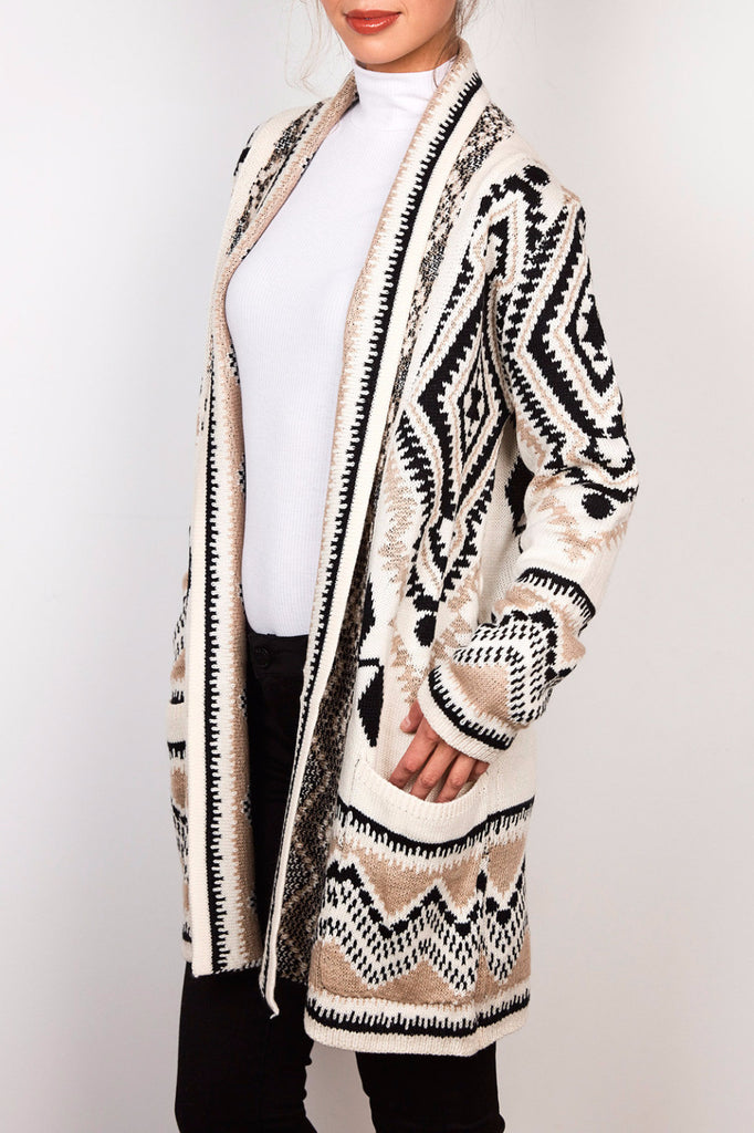 AZTEC PRINT BELTED CARDIGAN