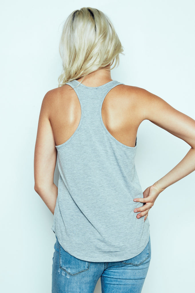 GRAPHIC RACERBACK TANK -  2 FOR $12 KNIT TOPS PROMO