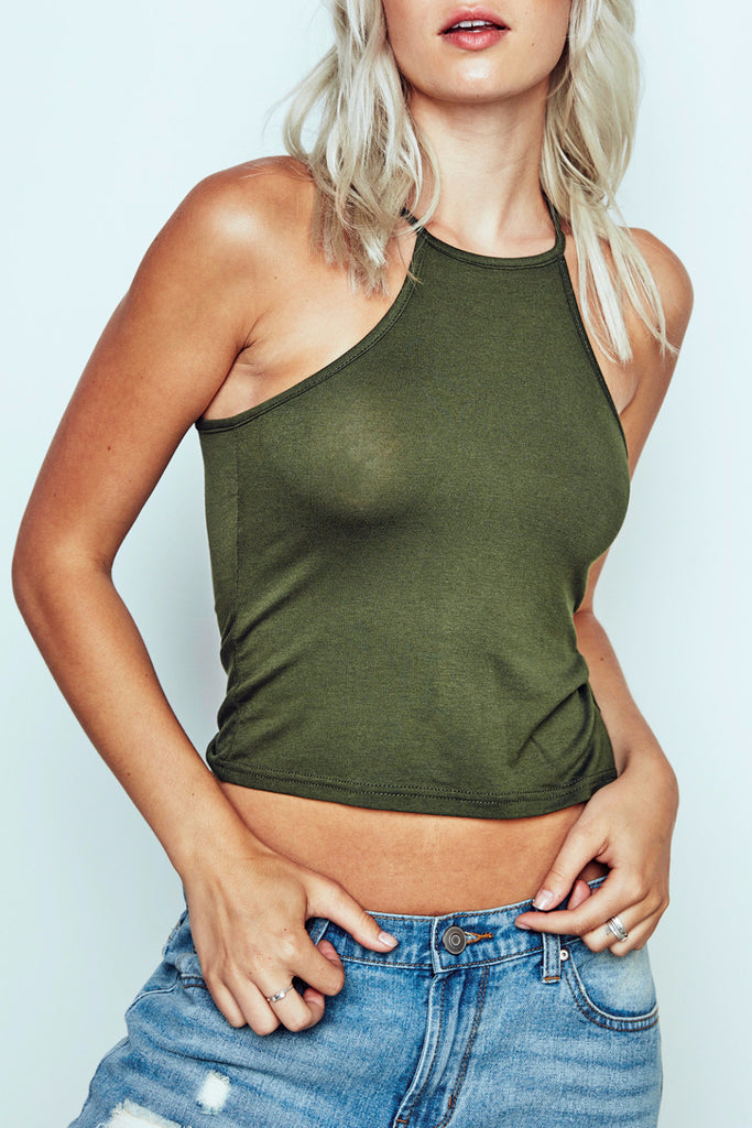 LIGHTWEIGHT SOLID HALTER TOP -  2 FOR $12 KNIT TOPS PROMO