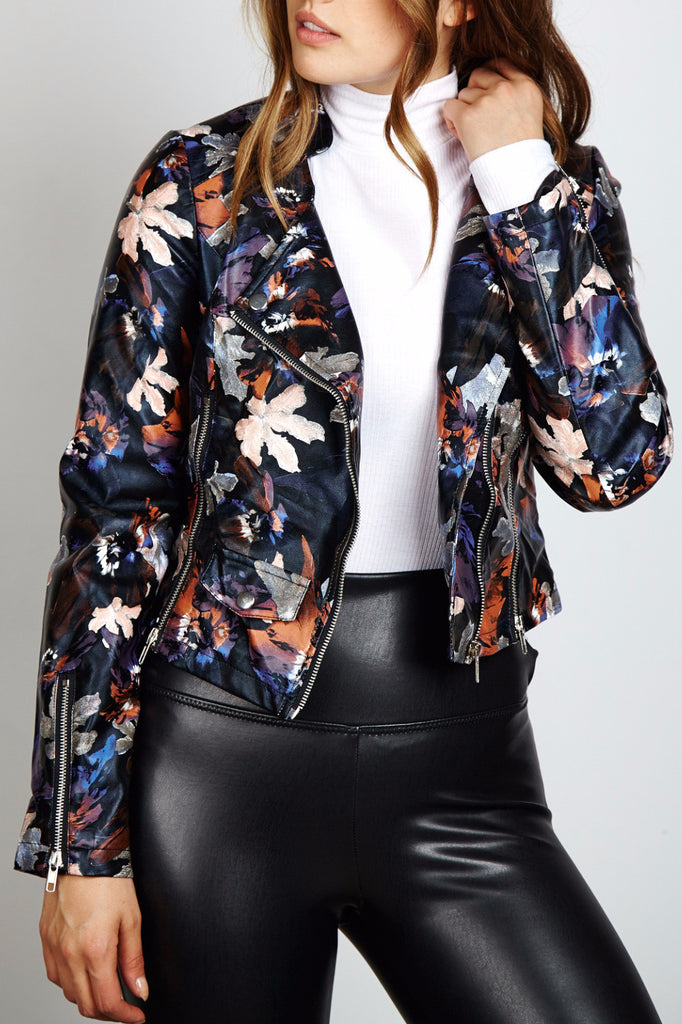 C91 FAUX LEATHER FLORAL PRINT BIKER JACKET