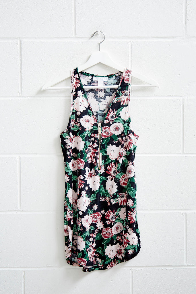 FLORAL ZIP-UP TANK