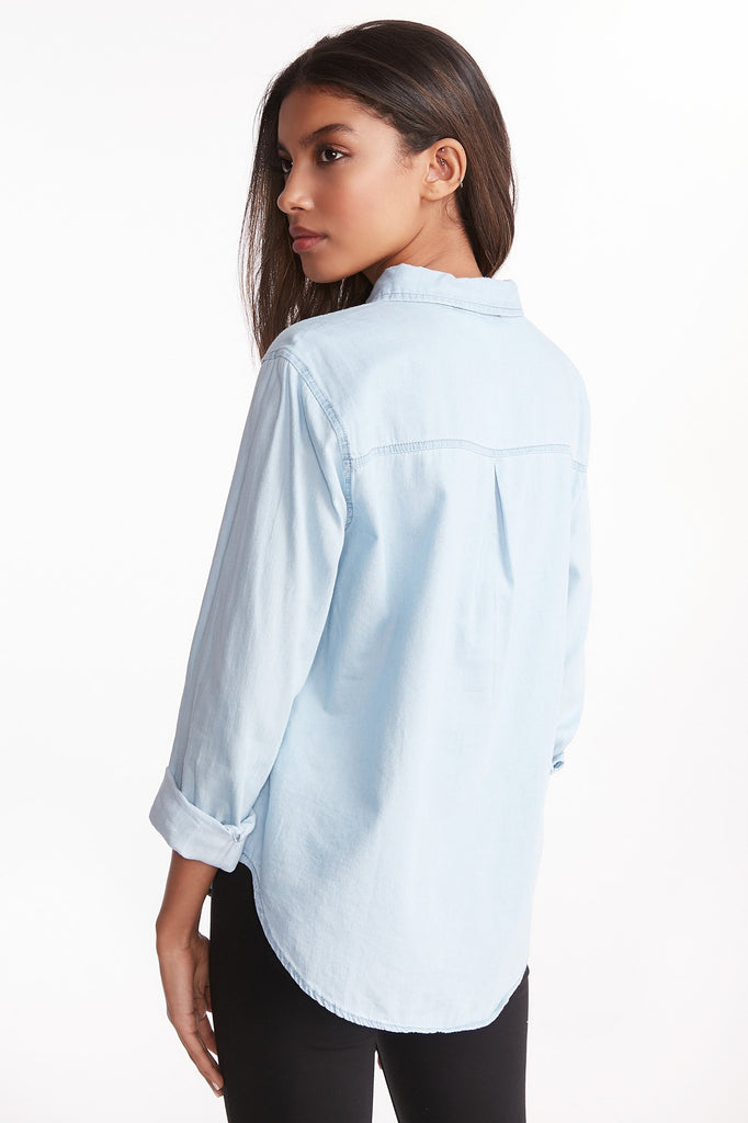 Chambray Floral Embroidered Button-Up Shirt
