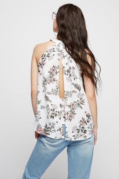 Floral Halter Open-Back Blouse