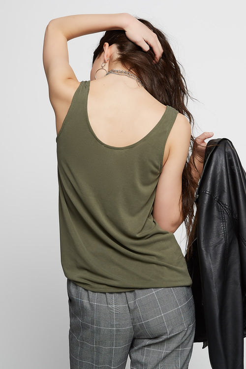 Front-Knot Scoop Neck Tank