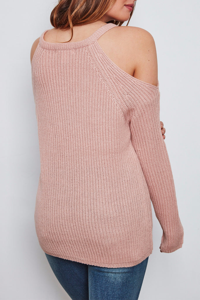 RIBBED KNIT COLD SHOULDER SWEATER - PROMO
