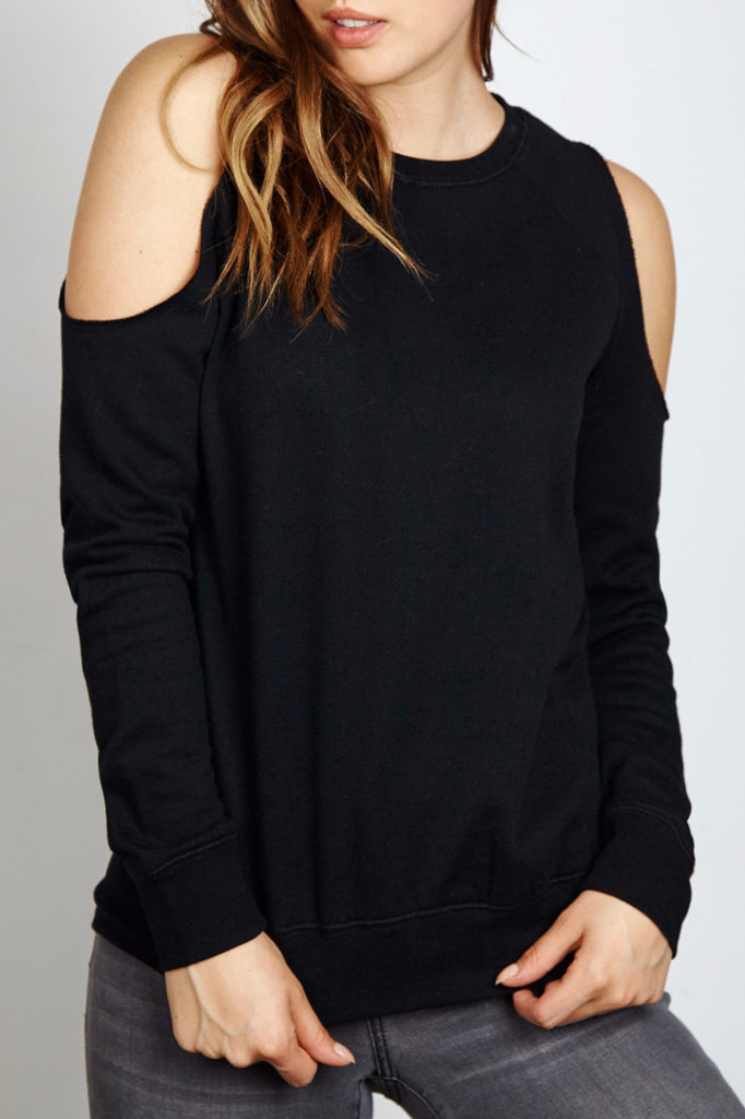 COLD SHOULDER CREW NECK SWEATER