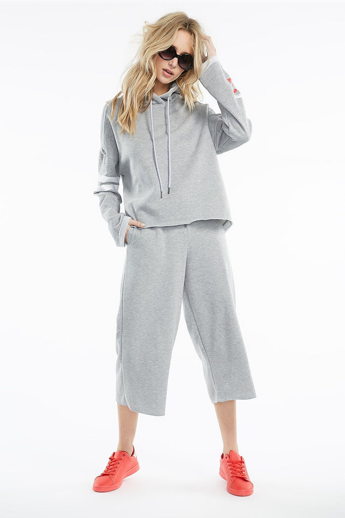Cropped Drawstring Culotte Sweatpant