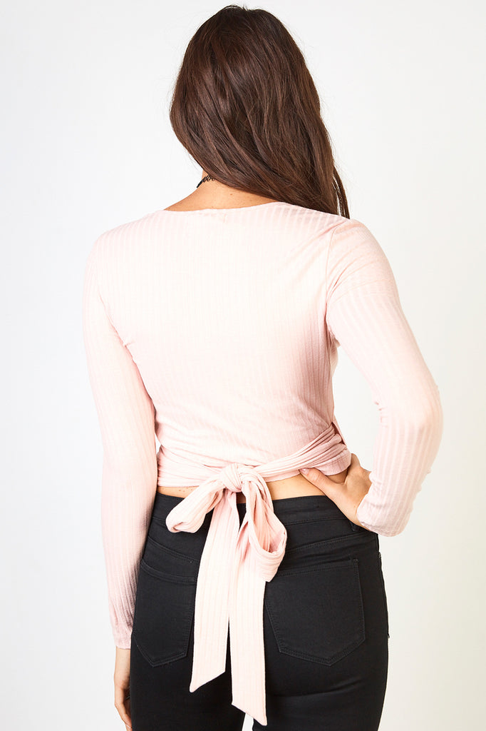 RIBBED KNIT WRAP TOP