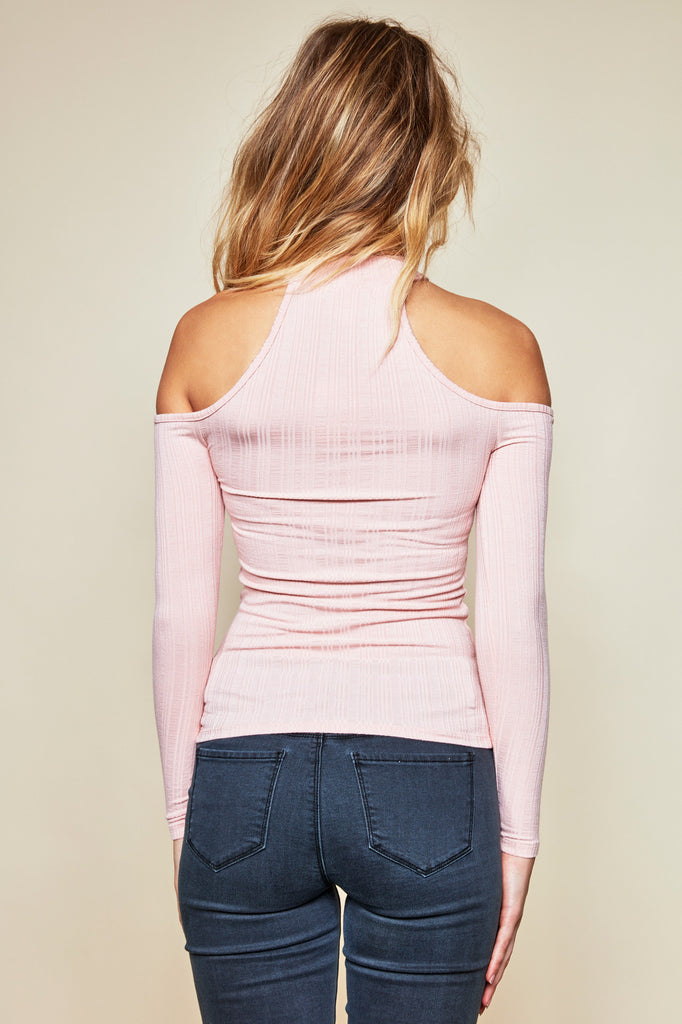 RIBBED COLD SHOULDER TEE