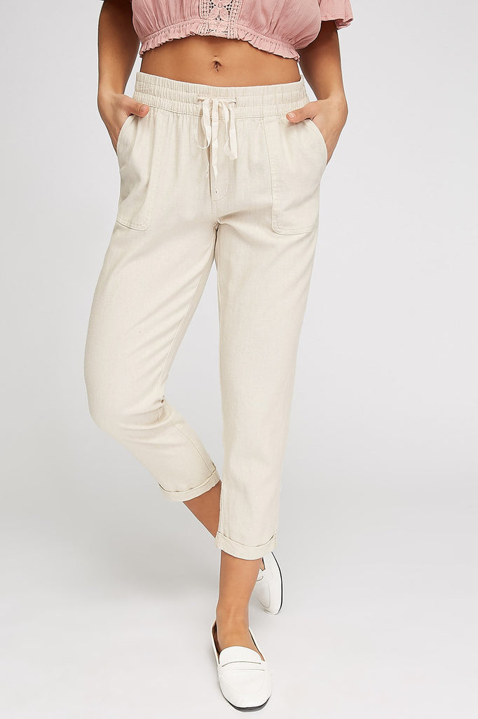 Roll-Up Linen Drawstring Jogger