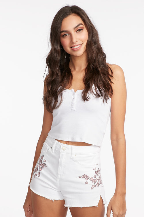 High-Rise Frayed Hem White Floral Embroidered Short