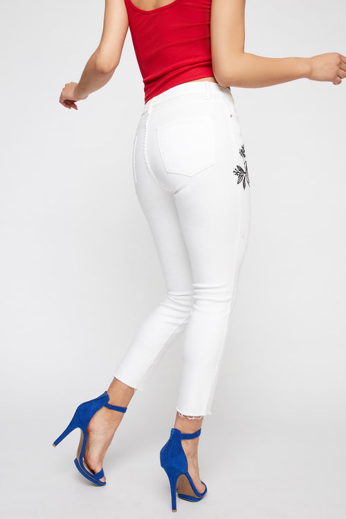 Rose Embroidered High-Rise White Frayed Hem Cropped Jean