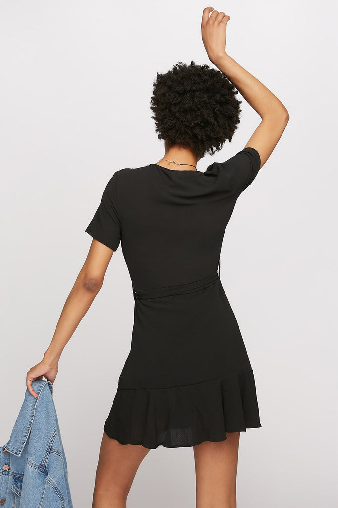 Ruffle V-Neck Self-Tie Wrap T-Shirt Dress