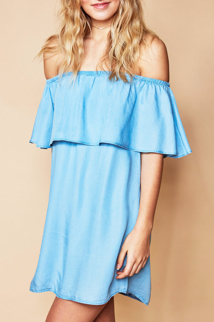 OFF THE SHOULDER DENIM SWING DRESS