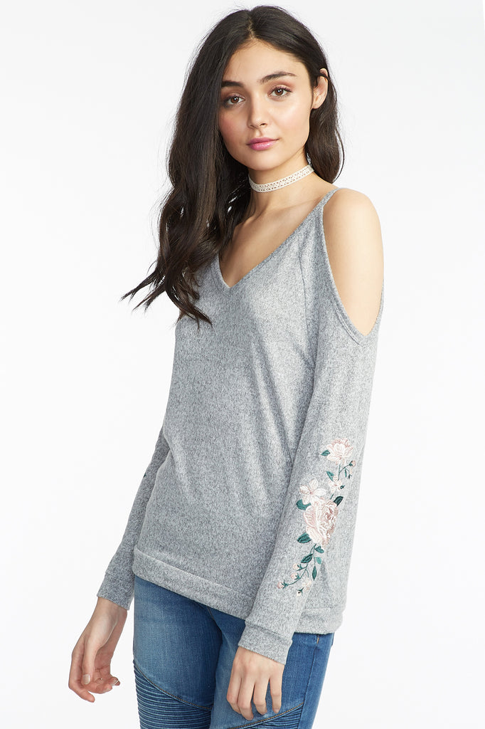 Marled Knit Floral Embroidered Cold Shoulder Long Sleeve