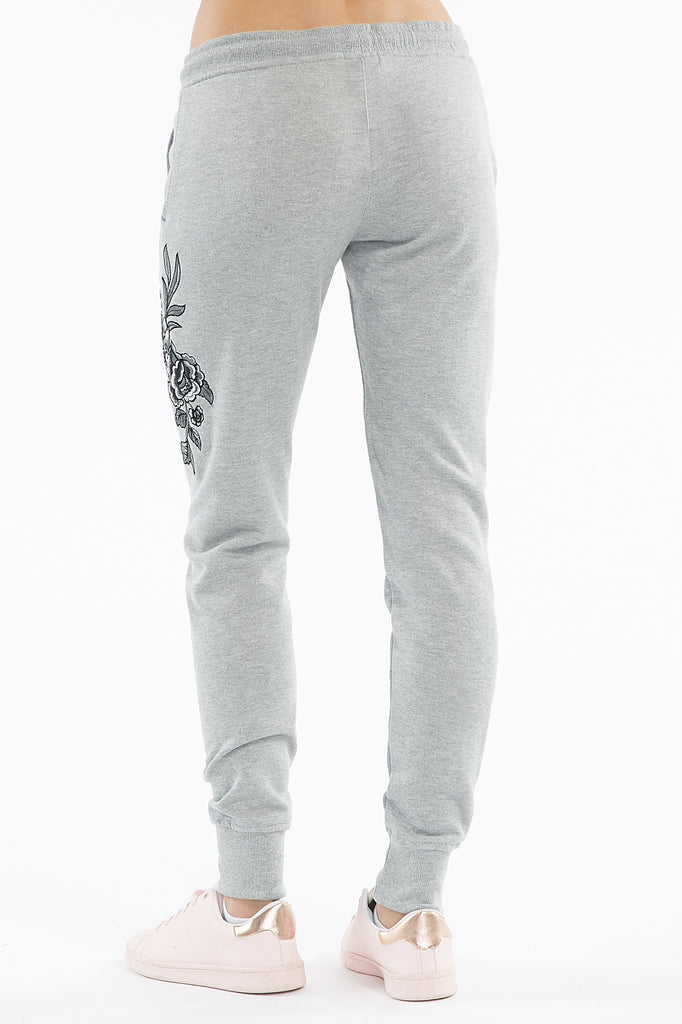 Floral Embroidered Drawstring Jogger