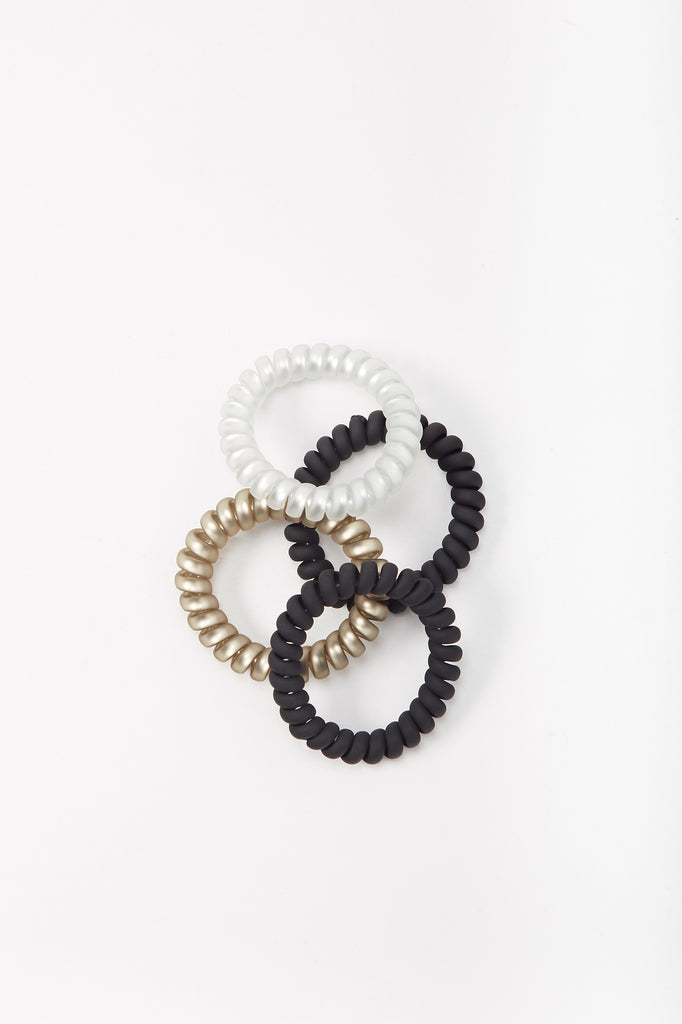 Color Telephone Cord Hair Tie (4 PC)