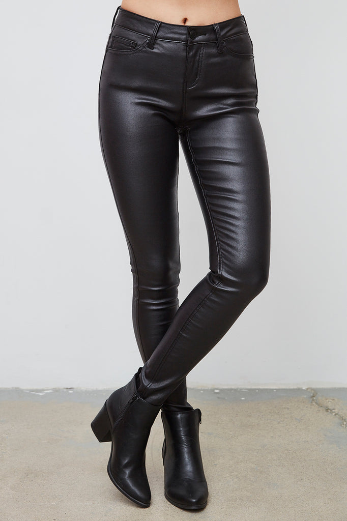 MIAMI FAUX LEATHER HIGH RISE SUPER SKINNY JEAN - SALE