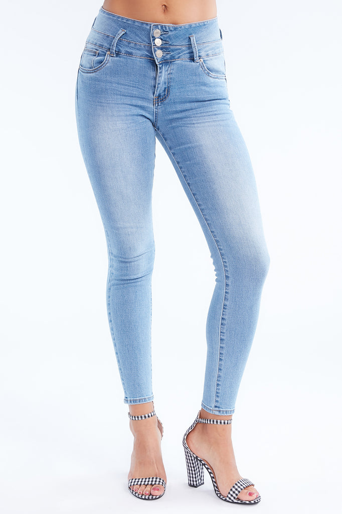 Medium Blue Ibiza High Rise Push Up Jean