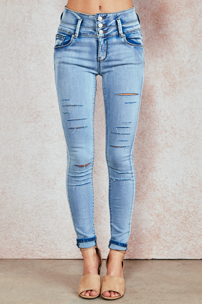 IBIZA DISTRESSED ULTRA HIGH RISE BETTER BOOTY JEAN