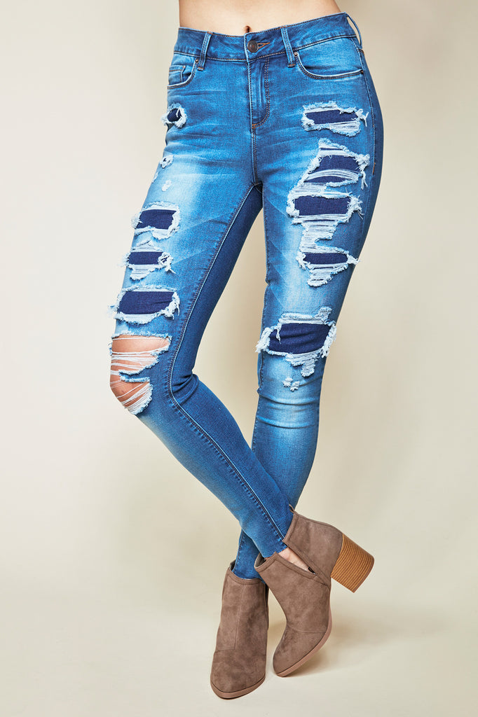 MIAMI DESTROYED HIGH RISE SUPER SKINNY JEAN