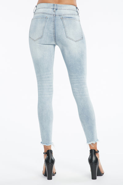 Light Denim Blue Frayed Hem Miami High Rise Super Skinny Jean