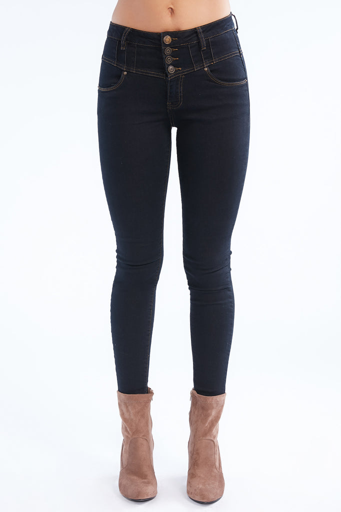 Denim Blue Vienna Tiered High Rise Skinny Jean