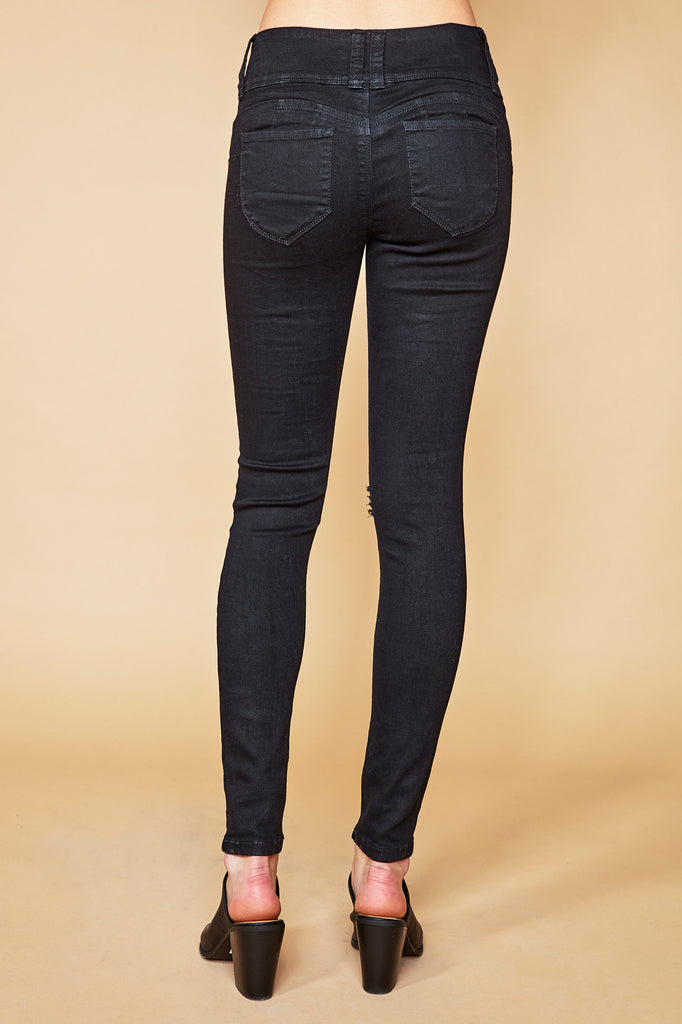 BLACK HAVANA DESTROYED LOW RISE WAISTBAND BOOTY JEAN