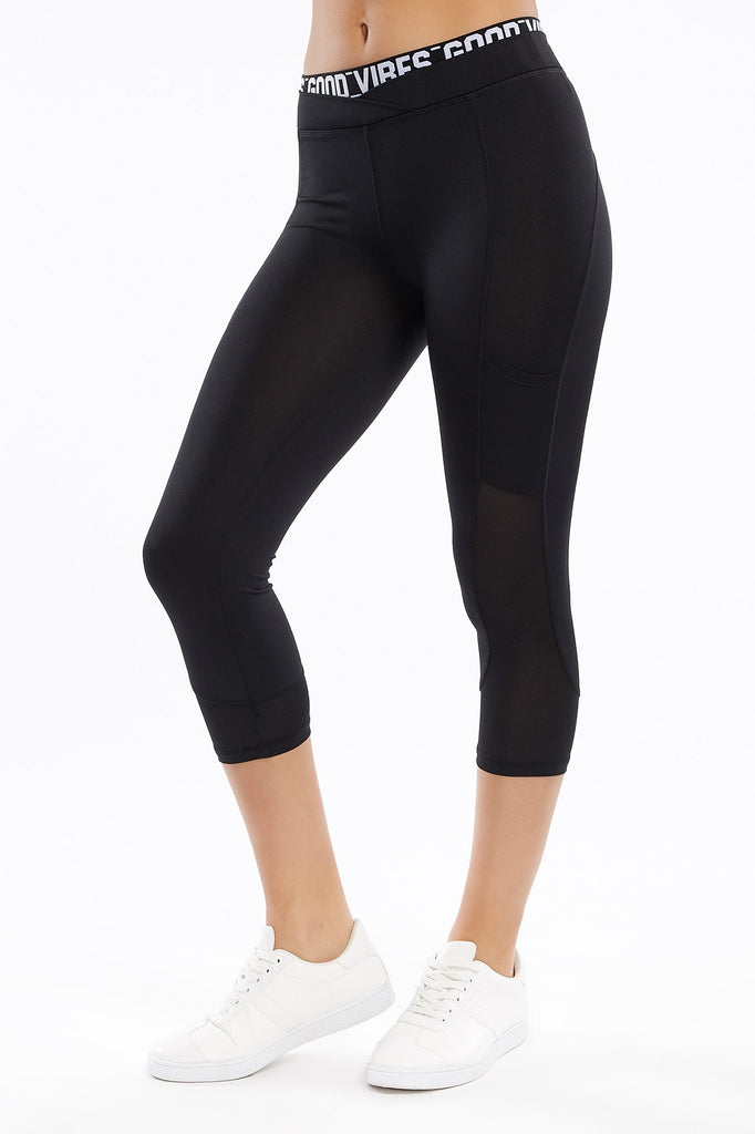 High-Rise Black Good Vibes Cropped Active Legging