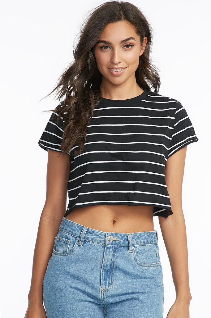 Striped Crewneck Cropped T-Shirt