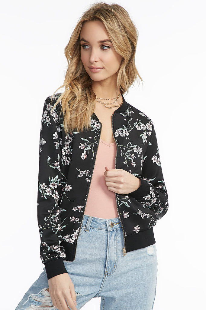 Gold Hardware Floral Bomber Jacket