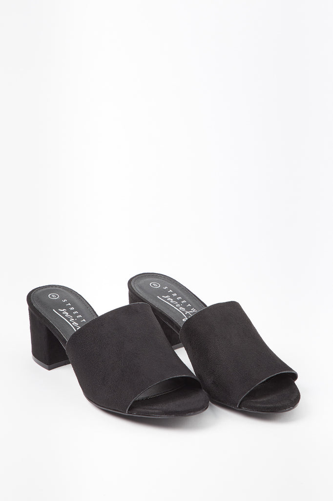 Block Heel Slip-On Sandals