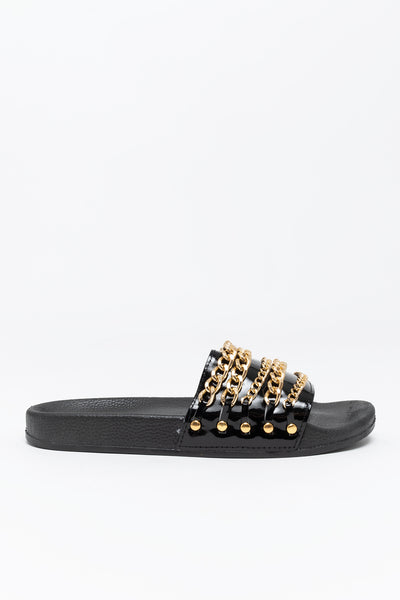 Chain Patent Leather Slide Sandals