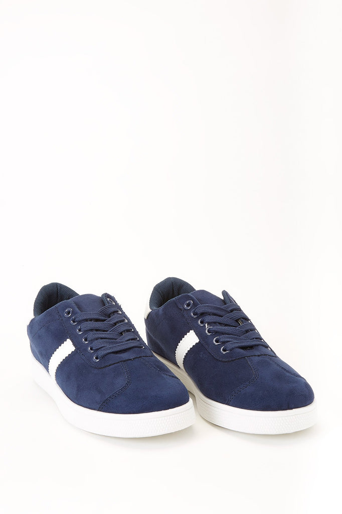 Contrast Faux Suede Lace-Up Sneakers