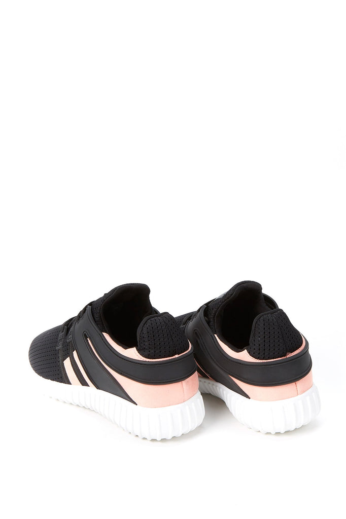 Lace-Up Faux Leather Mesh Panel Plimsoll Sneakers