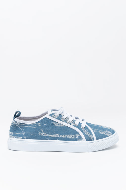 Lace Up Destructed Denim Sneaker
