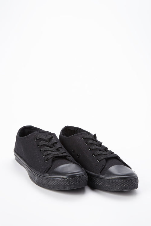 Black Canvas Lace Up Sneaker