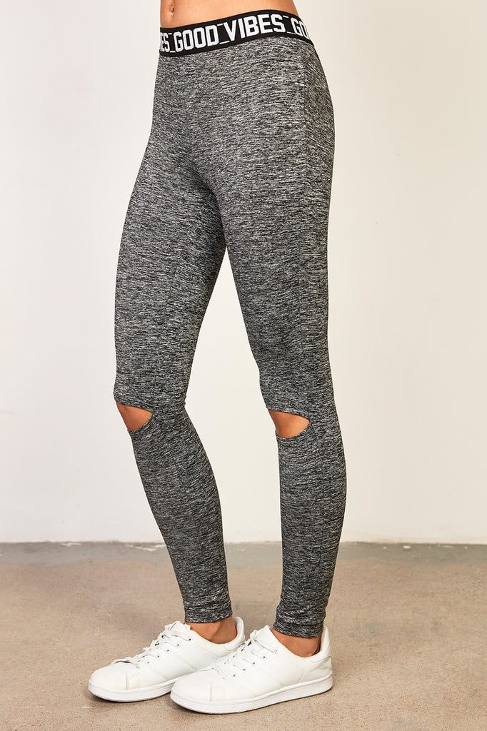 KNEE SLIT GOOD VIBES INFINITE LEGGING
