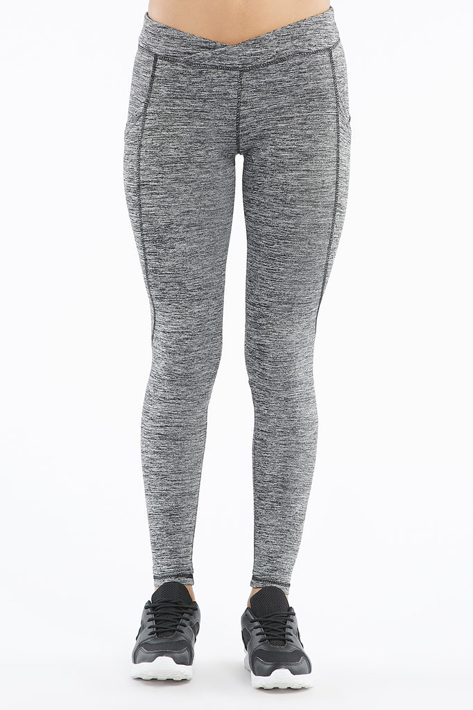 Mesh Cutout Pocket Marled Knit Fearless Legging