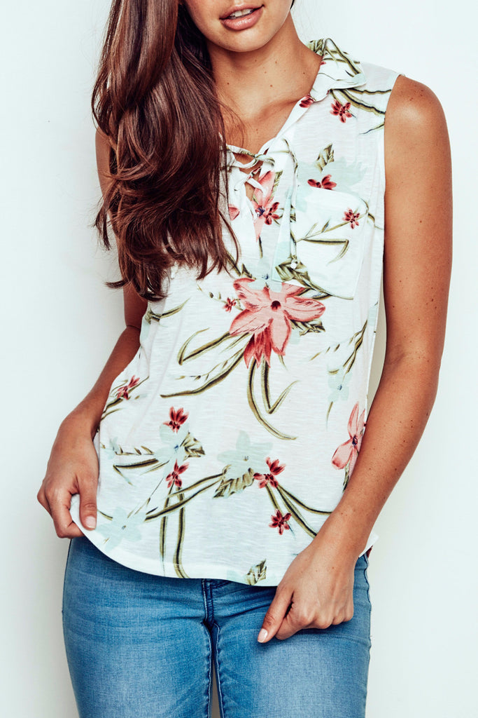 FLORAL LACE-UP SHIRT - PROMO 50% OFF